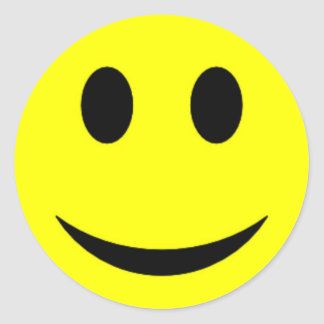 Visage souriant jaune original sticker rond