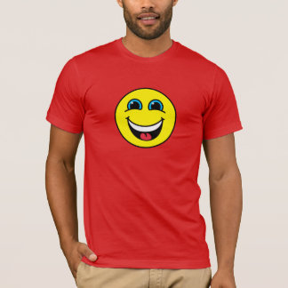 Visage souriant riant jaune t-shirt