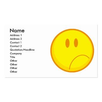 visage souriant triste de froncement de sourcils carte de visite standard