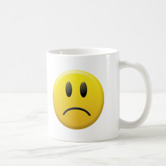Visage souriant triste mug blanc