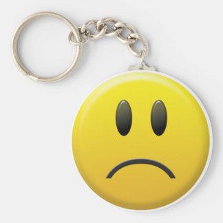 Visage souriant triste porte-clé rond
