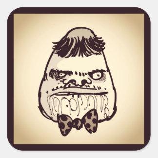 visage stupide de troll avec la bande dessinée sticker carré