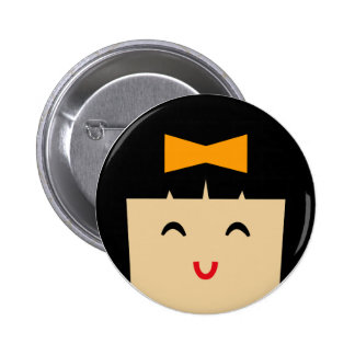 visages 2 d'Asiatique Badge Rond 5 Cm