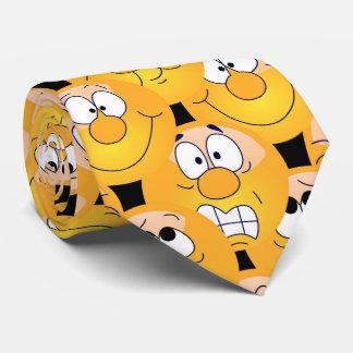 Visages jaunes drôles de conception d'Emoji Cravates