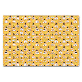 Visages jaunes drôles de conception d'Emoji Papier Mousseline