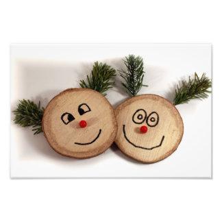 Visages mignons de Noël en bois Art Photographique