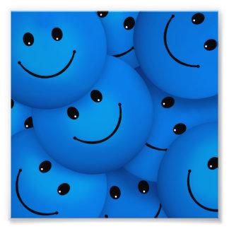 Visages souriants bleus heureux frais d'amusement photo sur toile