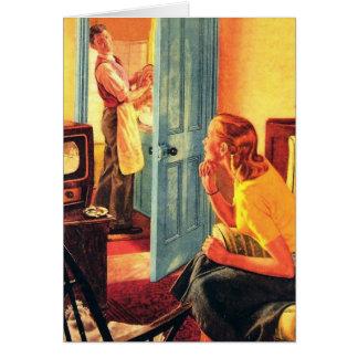 Visionneuse de TV tôt de rétro télévision vintage  Carte De Vœux