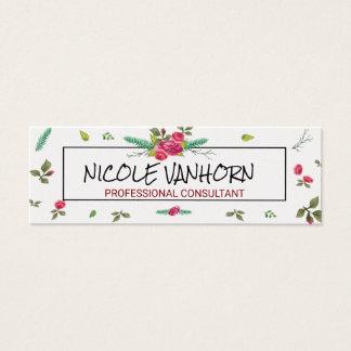 Visite florale de motif de rose d'aquarelle mini carte de visite