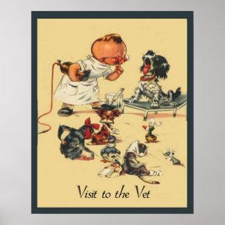 Visite vétérinaire vintage à l'animal familier de poster