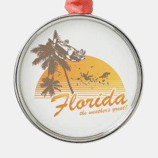 Visitez la Floride, le temps splendide - ouragan Ornement Rond Argenté