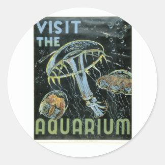 Visitez l'aquarium - l'affiche de WPA - Sticker Rond
