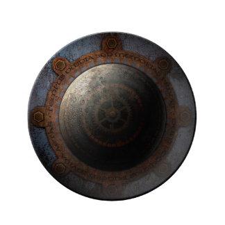 Vitesses en métal de temps d'horloge de lune de assiette en porcelaine
