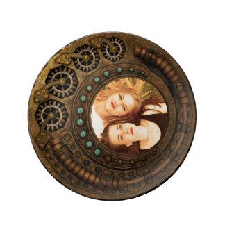 Vitesses faites sur commande en métal de temps assiette en porcelaine