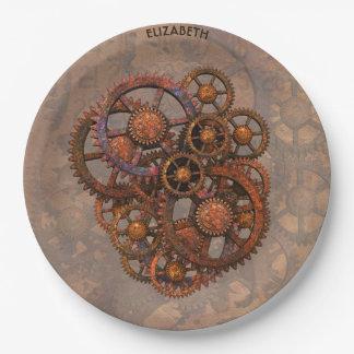 Vitesses rouillées en métal de Steampunk avec des Assiettes En Papier