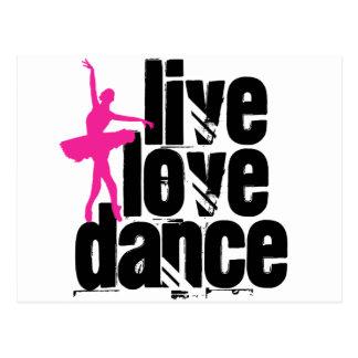 Vivant, amour, ballerine de danse carte postale
