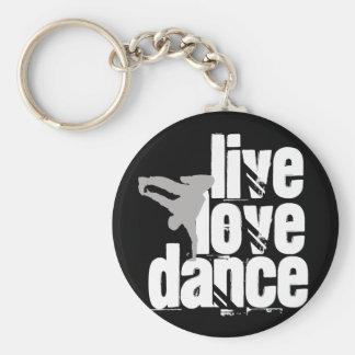 Vivant, amour, danse porte-clé rond