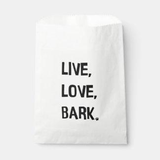 Vivant, amour, sac de faveur d'écorce sachets en papier