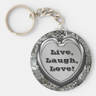 Vivant, rire, amour ! Porte - clé de scintillement Porte-clé Rond