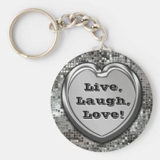 Vivant, rire, amour ! Porte - clé de scintillement Porte-clés