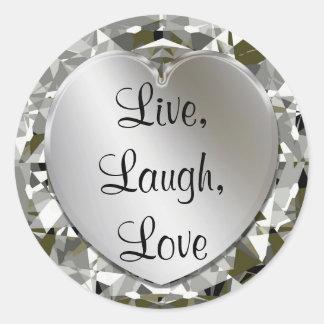 Vivant, rire, diamants d'amour et autocollants