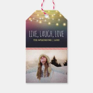 Vivant, rire, vacances gaies de la photo | de Noël Étiquettes-cadeau