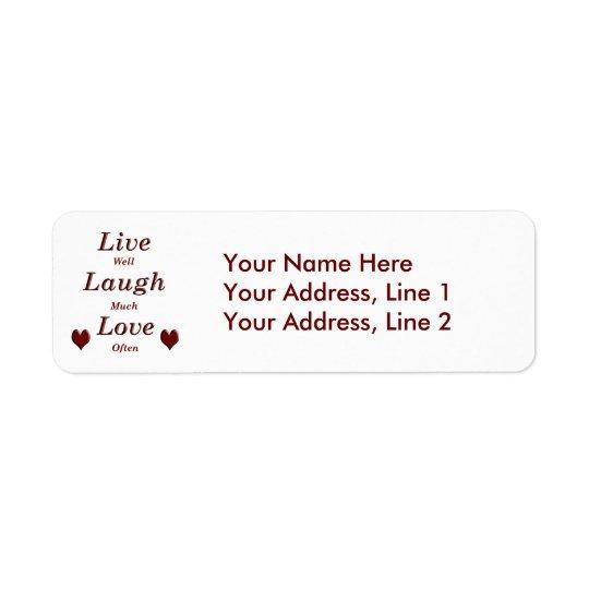 Vivent l'amour de rire étiquette d'adresse retour