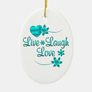 Vivent l'amour de rire ornement ovale en céramique