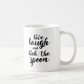 Vivent le rire et lèchent la cuillère mug blanc