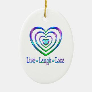 Vivent les coeurs d'amour de rire ornement ovale en céramique