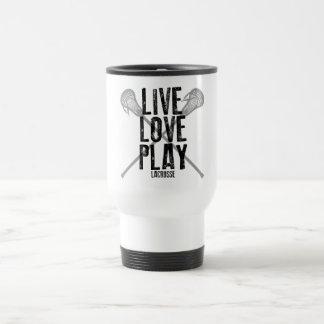 Vivez, aimez, jouez à la lacrosse mug de voyage