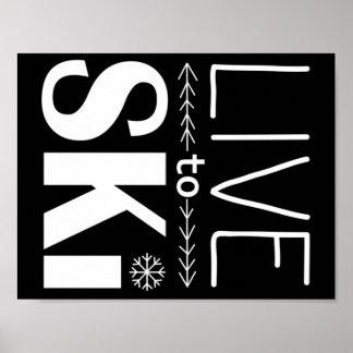 Vivez pour skier noir d'affiche (de base) - poster