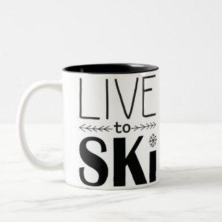 Vivez pour skier tasse