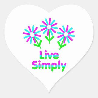 Vivez simplement sticker cœur