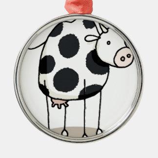 Vivi vaca ornement rond argenté