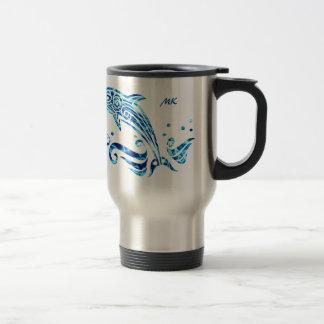 Vivons dans l'harmonie avec nos amis de dauphin mug de voyage en acier inoxydable