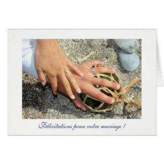 Voeux de mariage alliances mer plage sable galet cartes de vœux