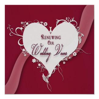 Voeux de mariage de renouvellement - coeur/ruban carton d'invitation  13,33 cm