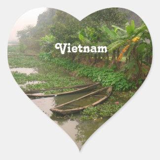 Voie d'eau au Vietnam Autocollants En Cœur