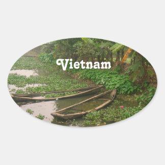 Voie d'eau au Vietnam Sticker Ovale