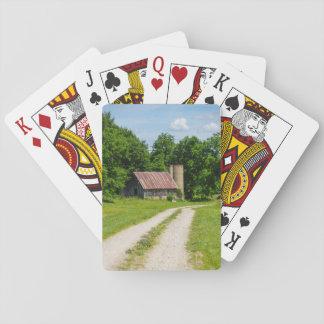 Voie par une ferme cartes à jouer
