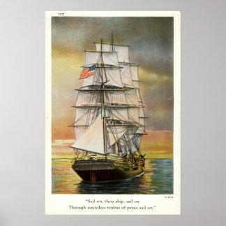 Voile sur le cru 1926 de bateau de mille affiche
