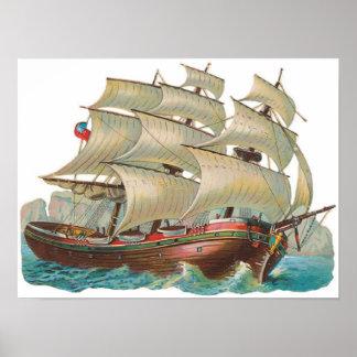 Voile vintage de bateau à travers l'affiche bleue  affiches