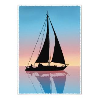 Voiles à la silhouette de coucher du soleil carton d'invitation  12,7 cm x 17,78 cm
