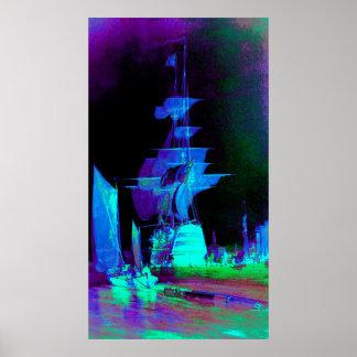 Voiles jaunes au néon une nuit éclairée par la lun posters