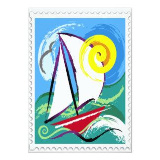 Voilier abstrait et timbre de Sun Faire-parts