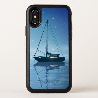 Voilier au cas de l'iPhone X d'OtterBox de nuit