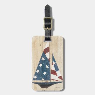 Voilier avec le drapeau américain étiquette pour bagages
