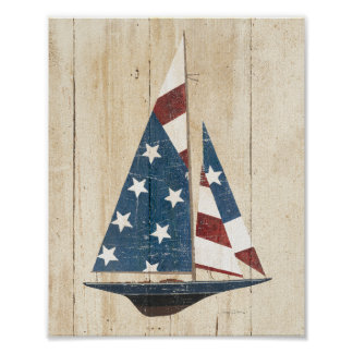 Voilier avec le drapeau américain poster
