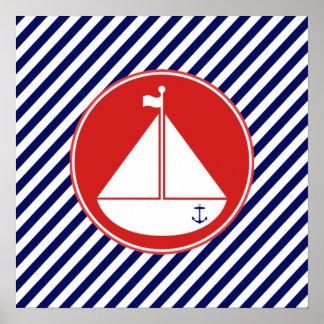 Voilier bleu et rouge poster